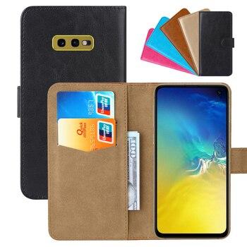 Перейти на Алиэкспресс и купить Роскошный чехол-кошелек для Samsung Galaxy S10e Exynos 9820 Snapdragon 855 из искусственной кожи в стиле ретро с откидной крышкой стильные магнитные чехлы с рем...
