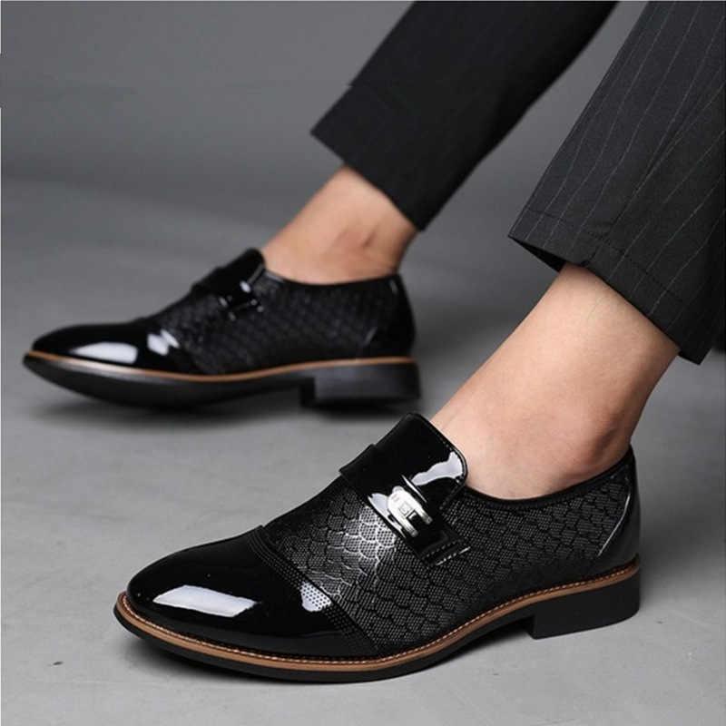サイズ 38-48 男性のパテントレザーのドレスシューズワニエンボス加工 pu レザーファッションの男性の靴男性ビジネス結婚式ブローグシューズ