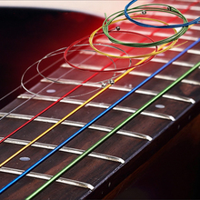 Colorful Acoustic Guitar Strings set Multi Color A407 Rainbow Strings Acoustic Wound Guitar Strings 6pcs/set