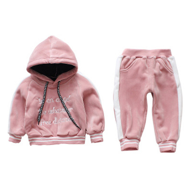 02e6121fda05 Gold Velvet Hoodies Coat Pant Sets Baby Girls Autumn Winter Clothes ...