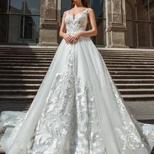 Silky Organza A-line Wedding Dress 2019 V-neck backless