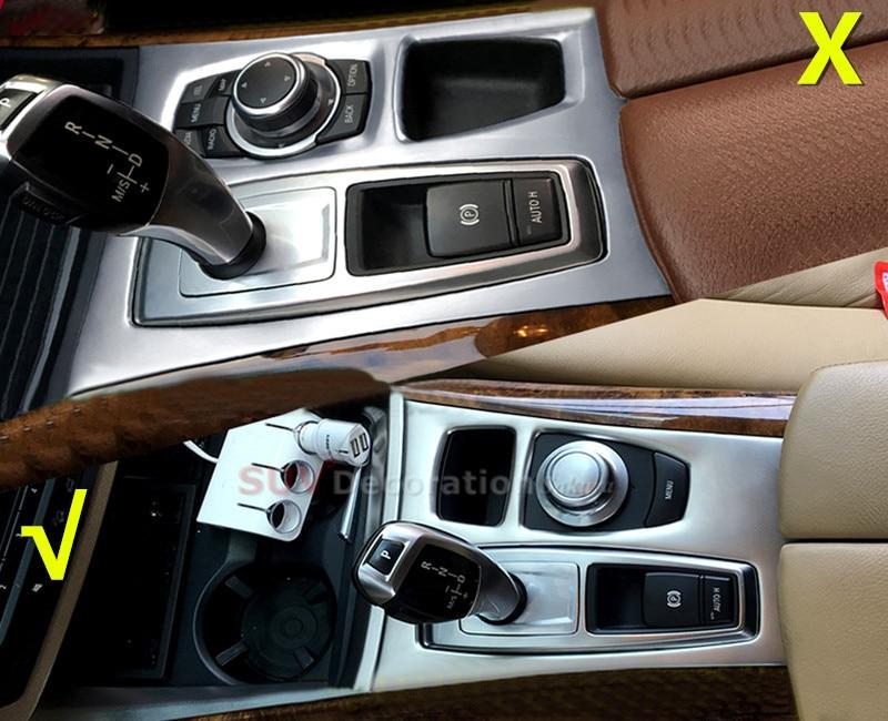 Pour BMW X5 E70 2007 2008 2009 intérieur en acier inoxydable changement de vitesse panneau couvercle garniture 1 pièces conduite à gauche
