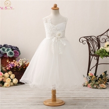2019 Ball Gown Flower Girls Dresses Sheer Appliques Girls Wedding Birthday Party Communion Gowns With Beauty Bow Pageant Dress