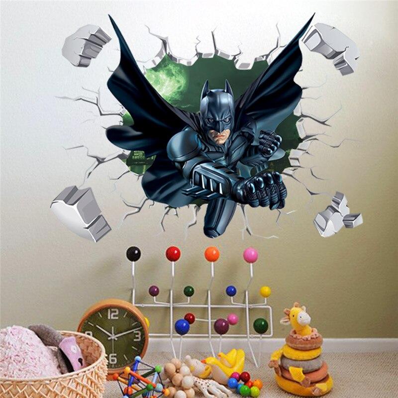 3d Througn Wall Batman Wall Sticker For Kids Nursery