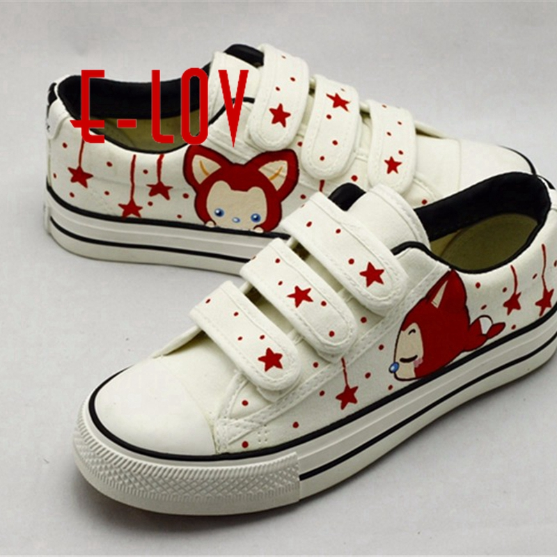 E-LOV Red Fox and Stars Women Summer Casual Shoes Hook & Loop Canvas Shoes Hand-Painted Shoes Unisex Platform Shoes Chlid Kids e lov women casual walking shoes graffiti aries horoscope canvas shoe low top flat oxford shoes for couples lovers