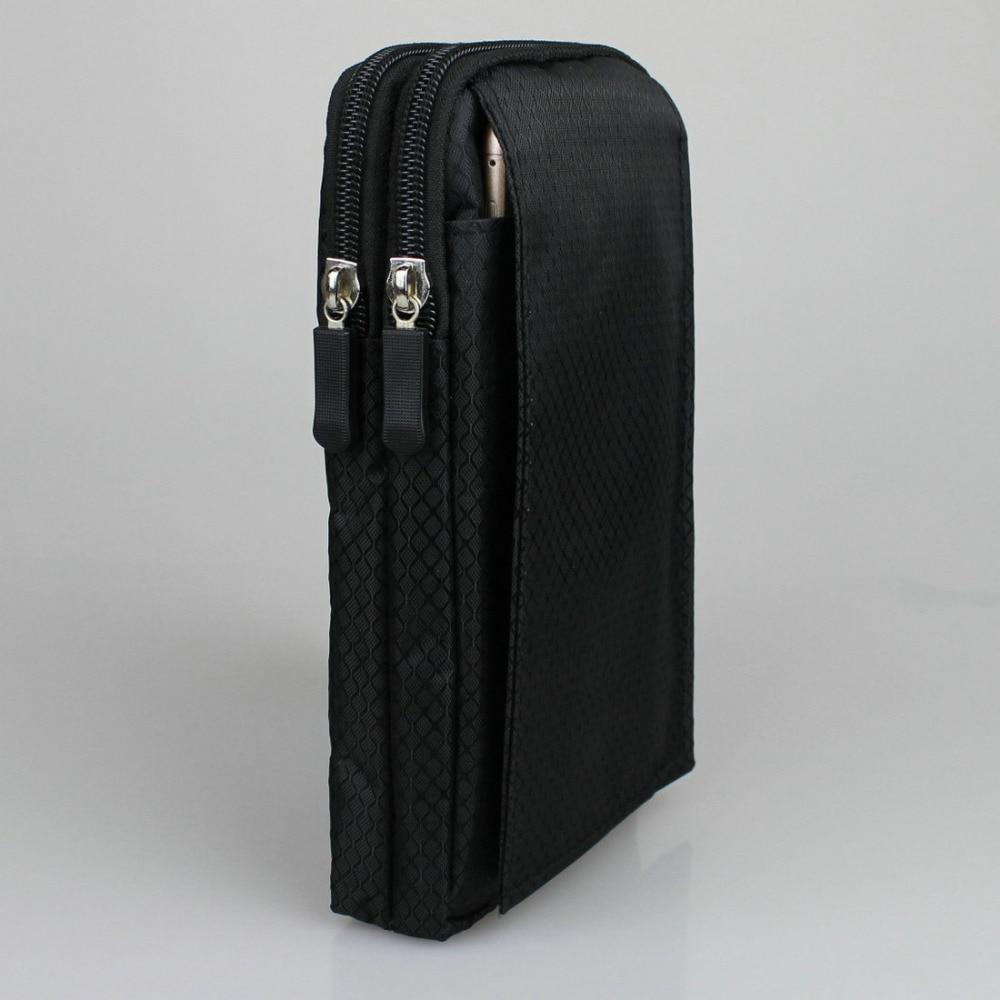 Waterproof Cellphone Nylon Pouch Belt Waist Bag Double Zip