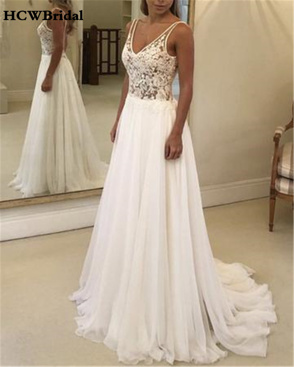 Romantic Sweetheart Beach Wedding Dress High Quality: Backless A Line Chiffon Lace Wedding Dresses 2019 High