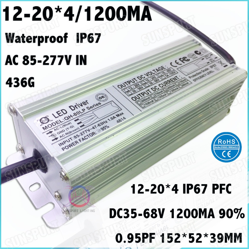 2 Pcs High Pfc Ip67 80w Ac85 277v Led Driver 12 20cx4b 1200ma Dc35 3w Mr16 Constant Current Ce Circuit Manufacturer From 68v Power For Spotlights Free Shipping