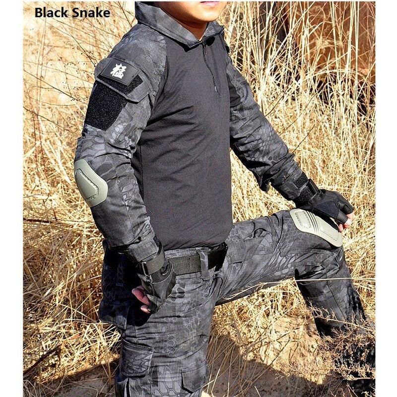 Tactique Camouflage militaire uniforme vêtements costume hommes US armée Multicam Airsoft Combat chemise + Cargo pantalon genouillères - 3