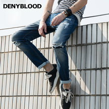 Denyblood Jeans 2017 Summer Mens Hight Stretch Denim Distressed Jeans Ripped Patchwork 3D Crinkle High Qaulity Pants 172069