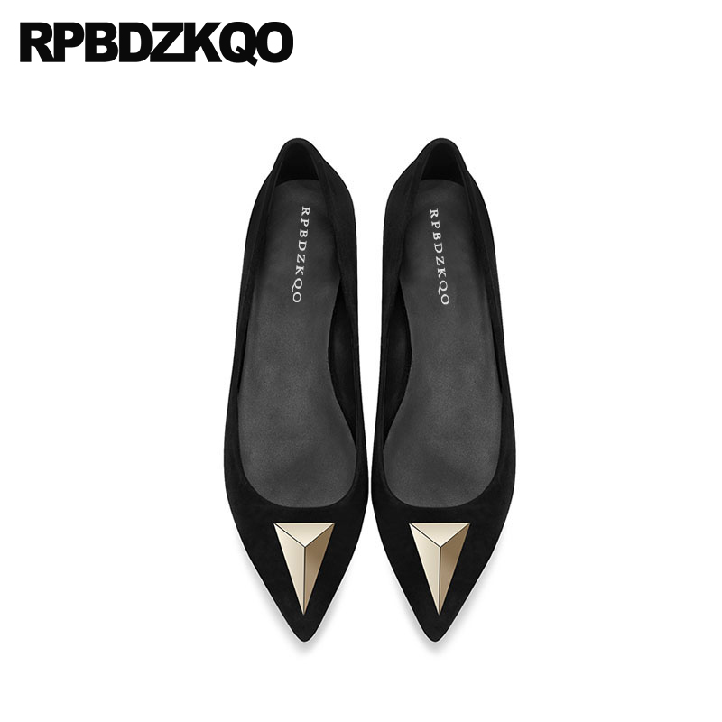 black chinese women genuine   leather     suede   slip on unique ladies beautiful flats shoes designer handmade metal pointed toe 2018