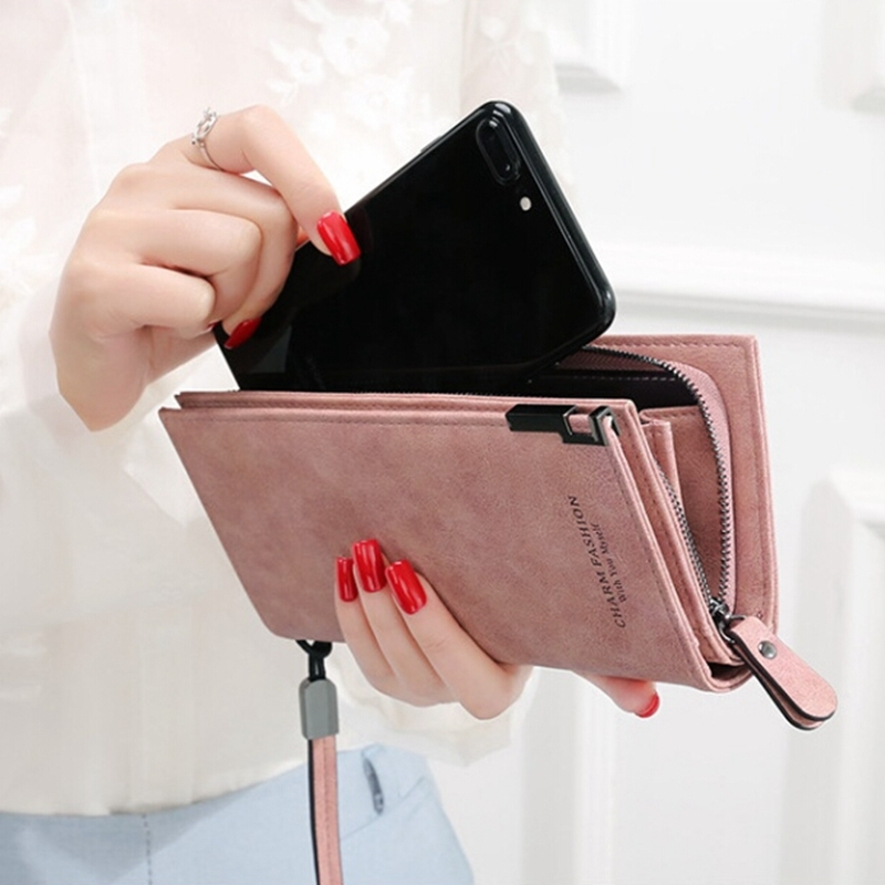 Womail Women Zipper Long Wallet Card Coin Change Holder Clutch Handbags Pink