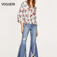 VOGUEIN New Womens Ladies Floral Print V-Neck Stand Collar Long Sleeve Blouse Tops Shirt Size SML Wholesale