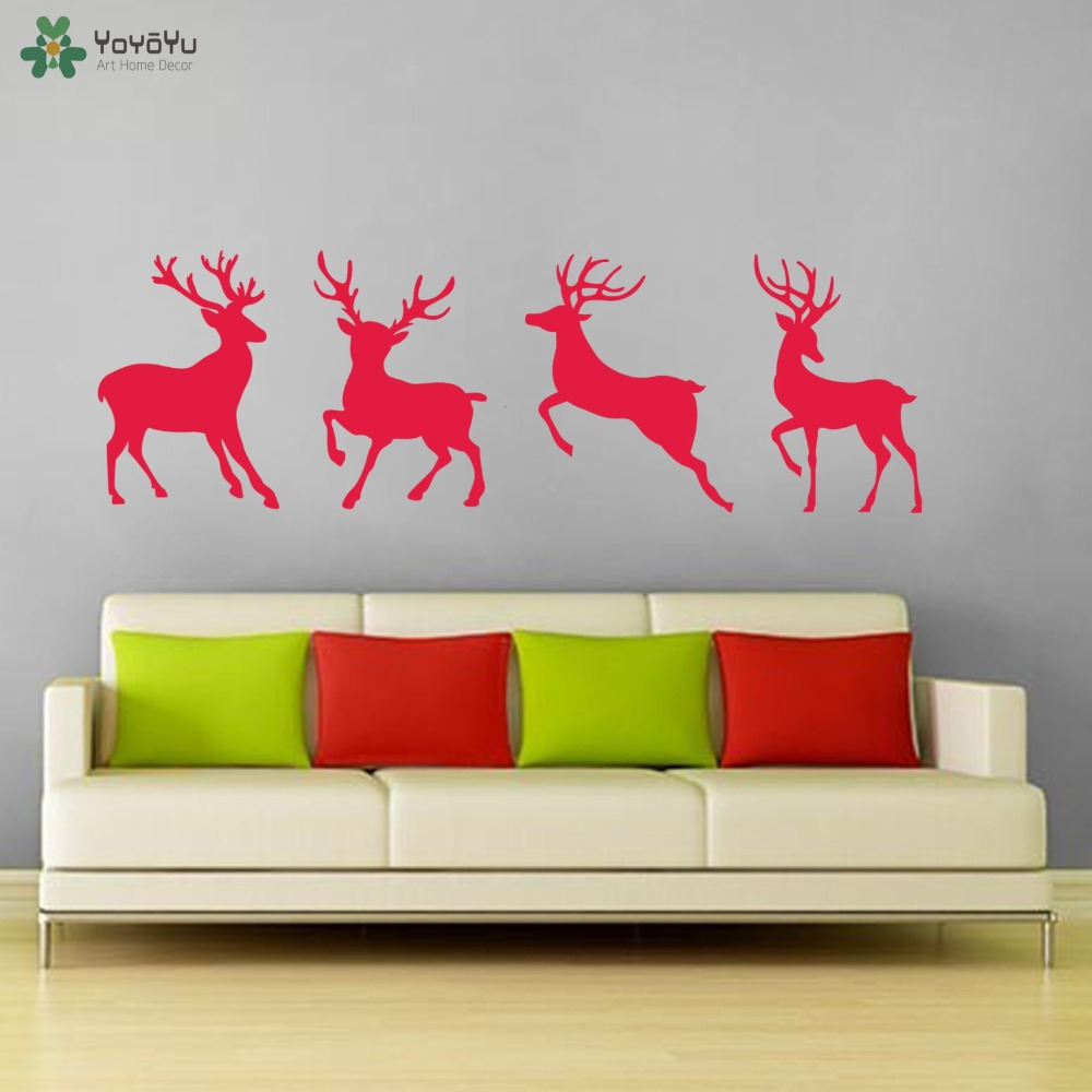 Deer head wall decal option a modern wall decals by dana decals - Merry Christmas Wall Decal Reindeer Pattern Design Wall Stickers For Kids Rooms Happy Holiday Home Decor Santa Door Decals Sy253