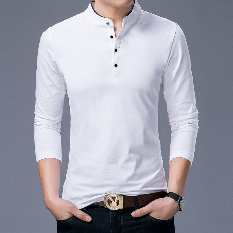 Image 4 - Hot Sell 2019 New Fashion Brand Clothing Polo Shirt Mens Long Sleeve Slim Fit Boys Mandarin Colla Polos Casual Men's Clothing-in Polo from Men's Clothing