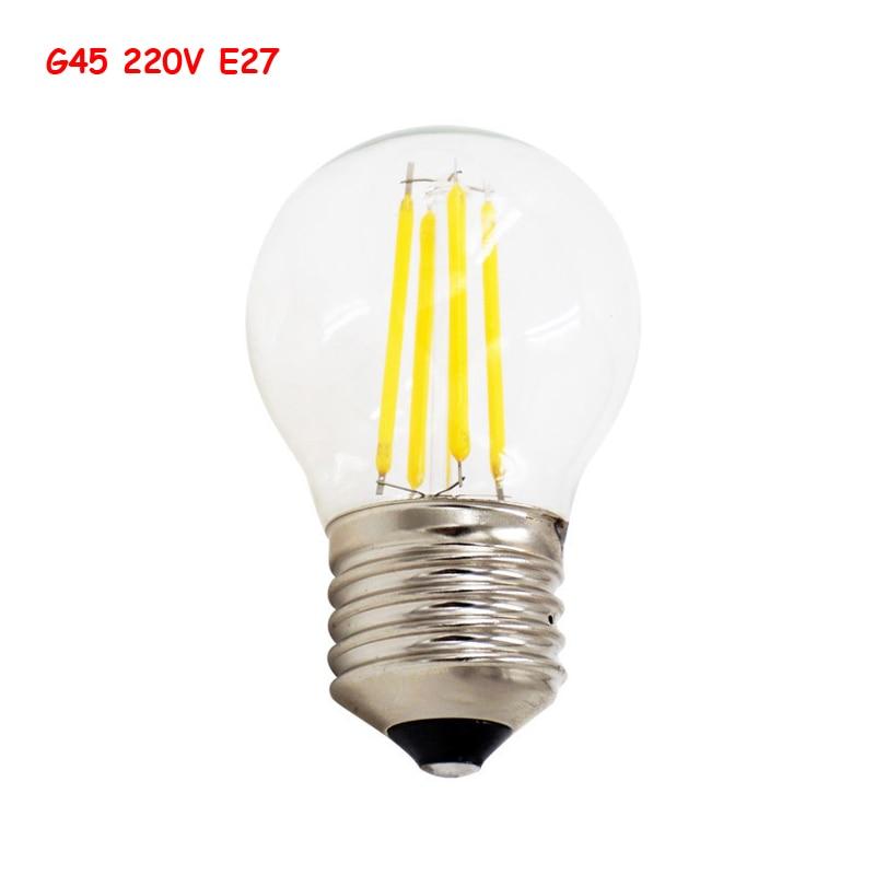 G45 светодиодный нити шарика E27 220 В 2 Вт 4 Вт 8 Вт Ретро Лофт Стиль подходит для люст ...