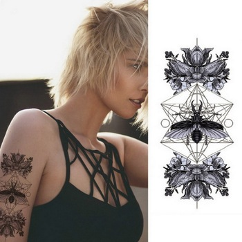 1pcs Watercolor cool henna rose flowers Temporary Body Tattoo Beautiful Shoulder thigh Back Body decor lace owl women body paint 4