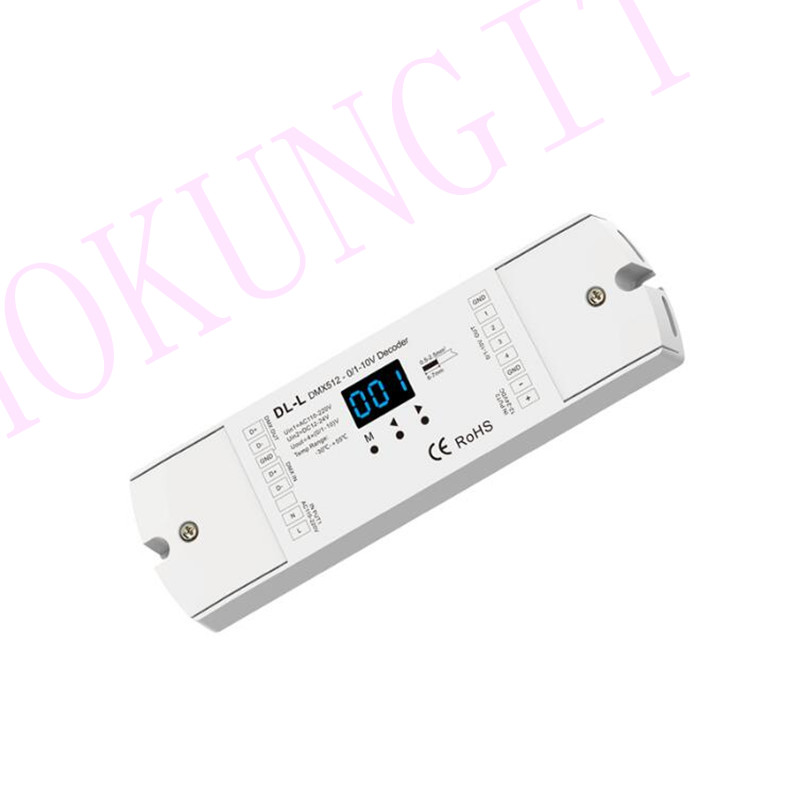 4CH Constant Voltage 0/1-10V DMX512 Decoder DL-L Signal Decoder With Digital Display DMX512 Led Controller Engineering Decoder
