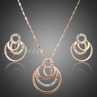 Jenia oro color traje barato joyería conjunto rhinestone colgante redondo collar y Pendientes Conjunto para las mujeres xs023