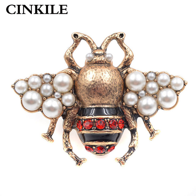 CINKILE Vintage Rhinestone Bee Brooches for Women Fashion Insect Brooch Pin Anti