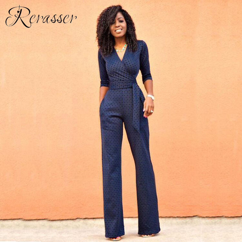 Rerasser Autumn Elegant Blue V Neck Jumpsuits Women Half Sleeve Lace Print Jumpsuit Female Formal Work Long Pants One Piece