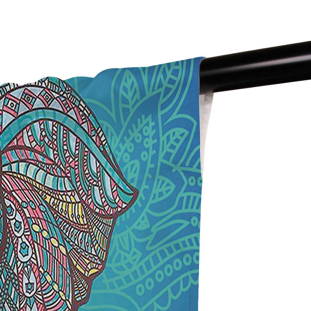 ستائر هندية على شكل فيل من Miracille ستائر عازلة للحرارة ستائر تعتيم ثنى لغرفة المعيشة والنوافذ والمنزل