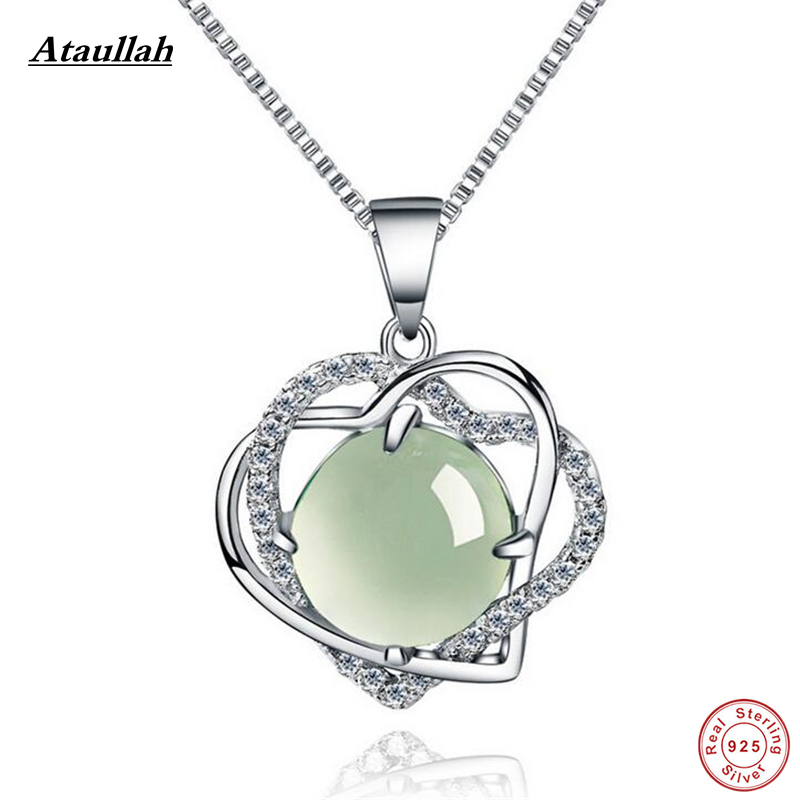Natural White Jade 925 Silver Link Chains Pendants Necklaces for Women Fashion 925 Sterling Silver Jewelry Brand Ataullah SSN007