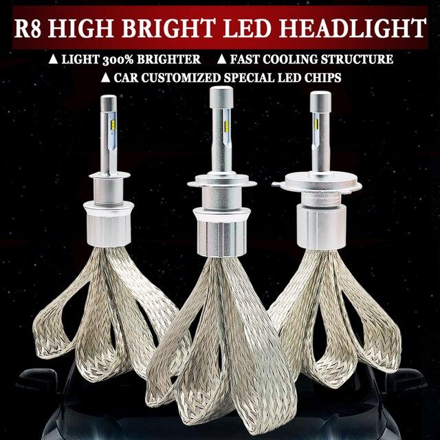LED H4 H7 H1 H11 HB4 H3 H8 H9 H11 9005 9006 10000lm ZES שבבי רכב Led פנס 6000k לבן אוטומטי ערפל אור פנס הנורה