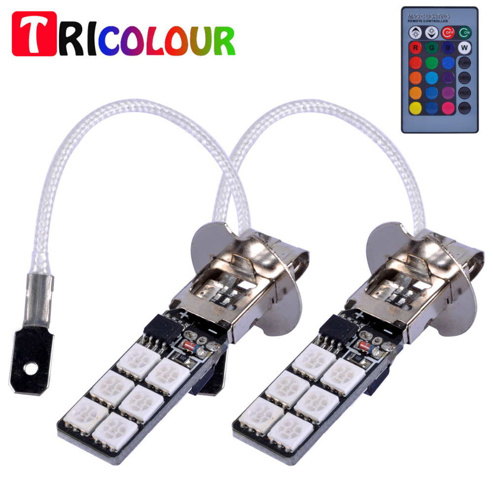 Tricolour 2 Sets H1 H3 5050 Smd 12 Led Multi Color Rgb Lights Bulb Tri Circuit Controller Fog Head Remote Tj70 In Car Lamp From Automobiles Motorcycles On