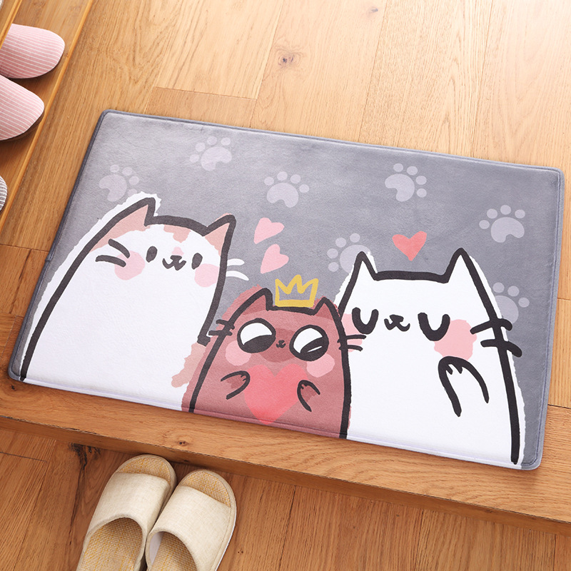 Cute Cat Soft Rugs Carpet Kitchen Carpets for Living Room for Children in Play Mat Non-Slip Floor Mats Area Entrance Door Tapete
