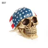 BUF Resin Statues Replica Human Skull Head Creative Skull Decoration Figurines Sculpture Ornament Home Decoration Accessories