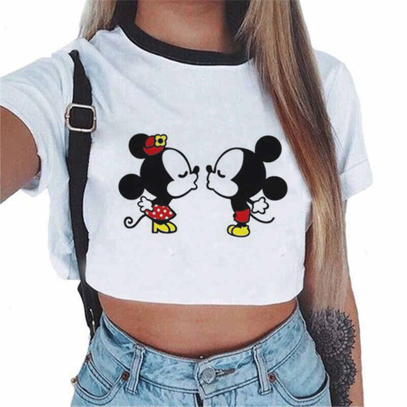 New Harajuku Kawaii Women T Shirt Summer Cute Mouse Print T Shirt Women Casual Crop Top White Funny T Shirt Women Vogue Tee