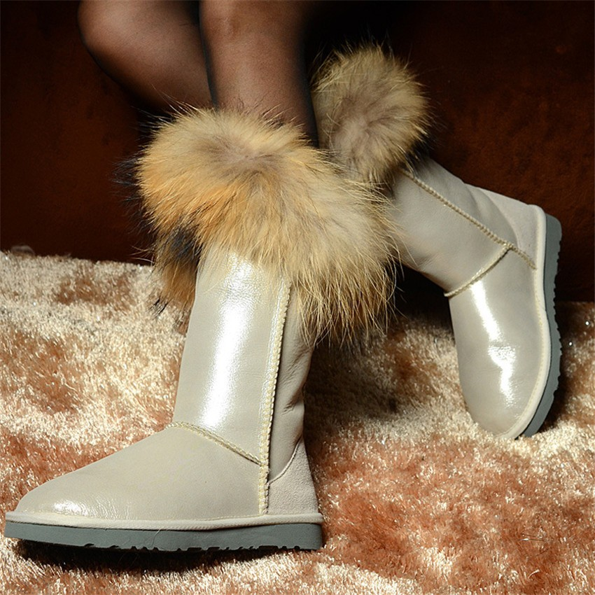 grwg High Quality Woman Snow High Boots Real Sheepskin Winter Boots Genuine Sheepskin Snow Boots Warm Wool Women' Boots цена