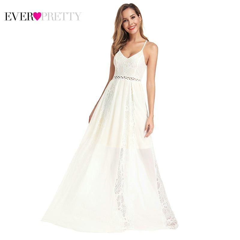 Ever Pretty White Lace   Bridesmaid     Dresses   A-Line V-Neck Spaghetti Straps Elegant Wedding Guest   Dresses   EP00947 Vestido Madrinha