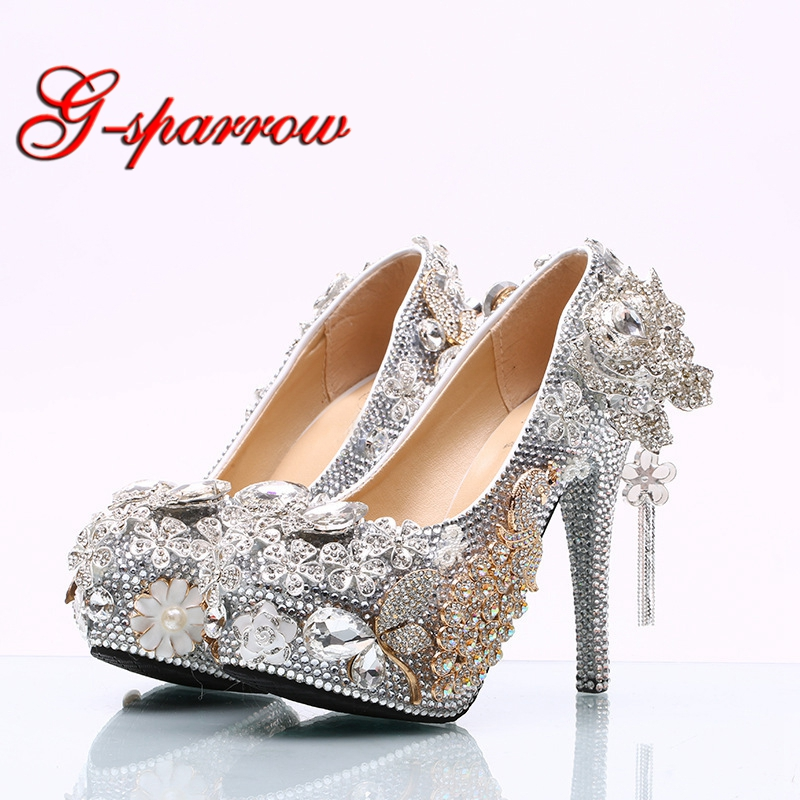 Gorgeous Silver Rhinestone Wedding Shoes Rose Flower Crystal Wedding Banquet Party Shoes Cinderella Prom Pumps Plus
