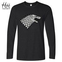 Winter Is Coming Direwolf T Shirt House Stark Winterfell Cotton T Shirt Men Casual Long Sleeve