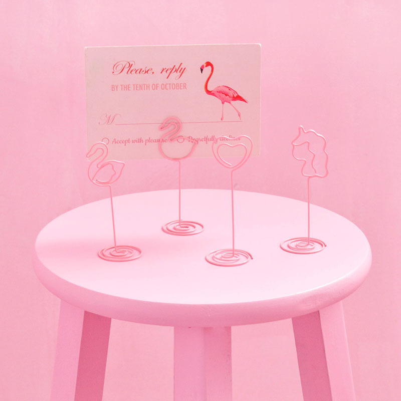 10pcs/set Pink Table Number Card Holders Cartoon Flamingo Cactus Shaped Photo Holder Stand Place Card Paper Menu Clips For Party