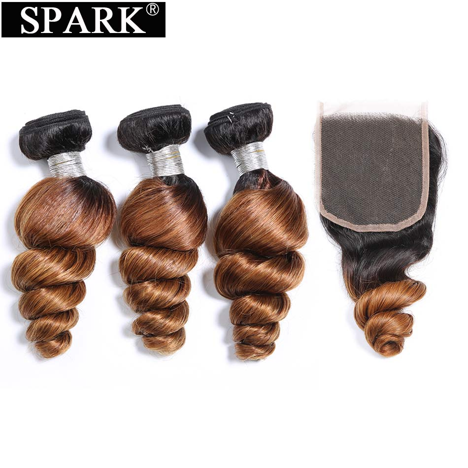 Spark Peruvian Loose Wave Hair Bundles Ombre Remy Human Hair 3/4 Bundles with Closure Can Make a Wig for Black Woman Loose