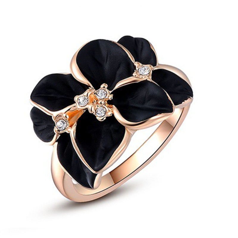 C291 Fashion Cute Crystal Gardenia Flower Drip Anillo Vintage Finger knuckles Ring For Women Wedding Jewelry Gift Tail Anneau