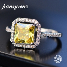 PANSYSEN Charms 7MM Citrine Rings For Women Genuine 925 Sterling Silver Jewelry With Zircon Stones Anniversary Engagement Gifts