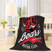 Vintage American furious boar bikers club tee print vector design isolated on black background Flannel Throw Blanket Lightweight(China)