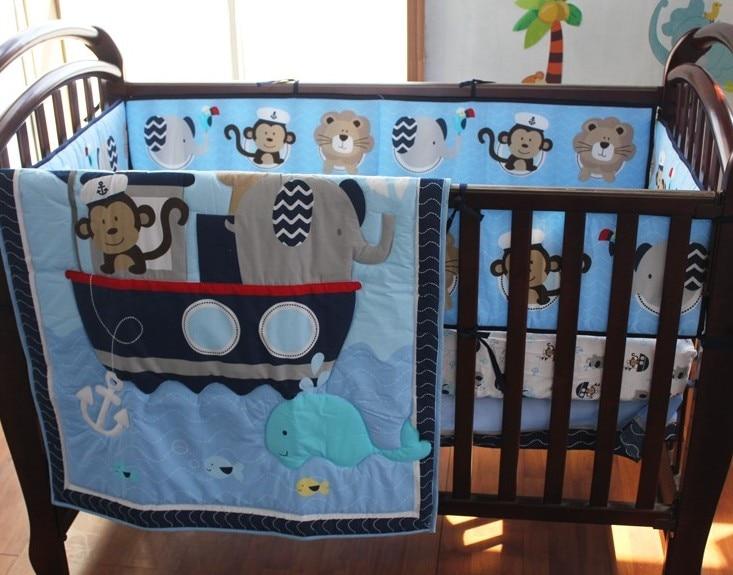 Promotion! 8PCS Baby Crib Bedding Set Girls Boys Cartoon Newborn Baby Bed Linen,(4bumper+duvet+bed Cover+bed Skirt+diaper Bag)