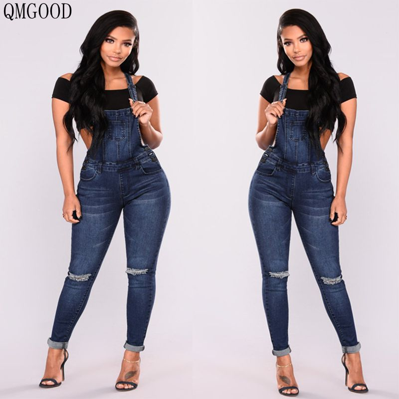 08df0a2002 QMGOOD 2018 Sexy Denim Women s Overalls Skinny Jeans Woman Push Up Cowboy  Jumpsuit Suspender Trouser Hot