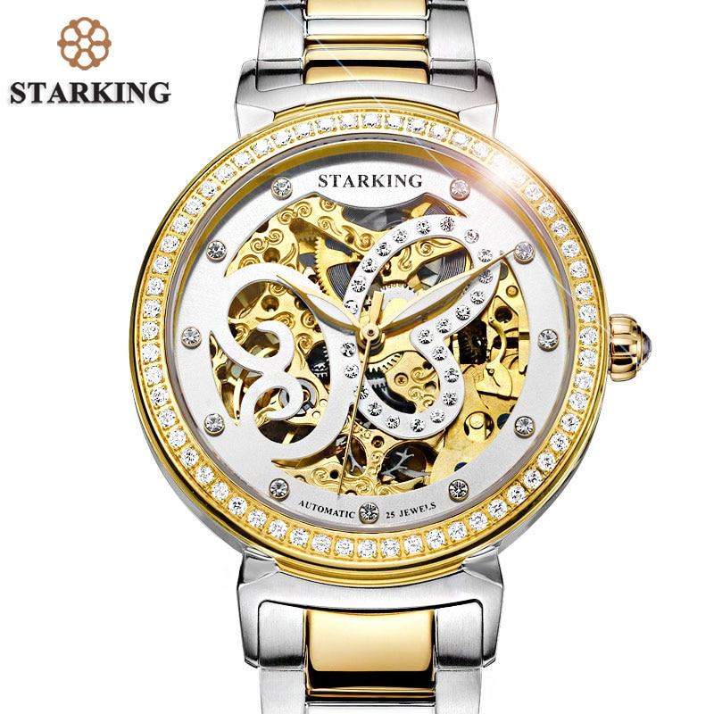 STARKING Women Automatic Mechanical Tourbillon Skeleton Watch 2017 New Arrival Luxury Brand Red Women Dress Watches Relo AL0181 все цены