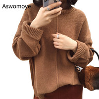 2018 New Autumn Spring Women Sweater Wool Turtleneck Full Sleeve Pullovers Female Loose Outwear Short Front Long Back Jumper