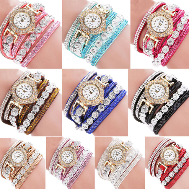 New Fashion Women Fashion Casual Analog Quartz Women Rhinestone Watch Bracelet W