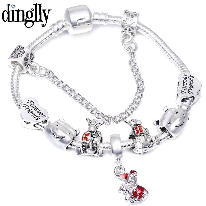 Color Cartoon Love Winnie Boy Bear Tigger Beads Eeyore Charm Bracelets For Women Original Bracelet & Bangles Gifts(China)