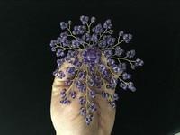 Latest Design 4 Inch 4mm Purple Amethysts Beads Flower Shape Brooch