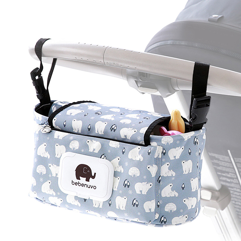Kidsrun Baby Stroller Bag Portable Diaper Cup Holder Printing Mummy Baby Bags Carriage Pram Stroller Accessories 37x17x10cm