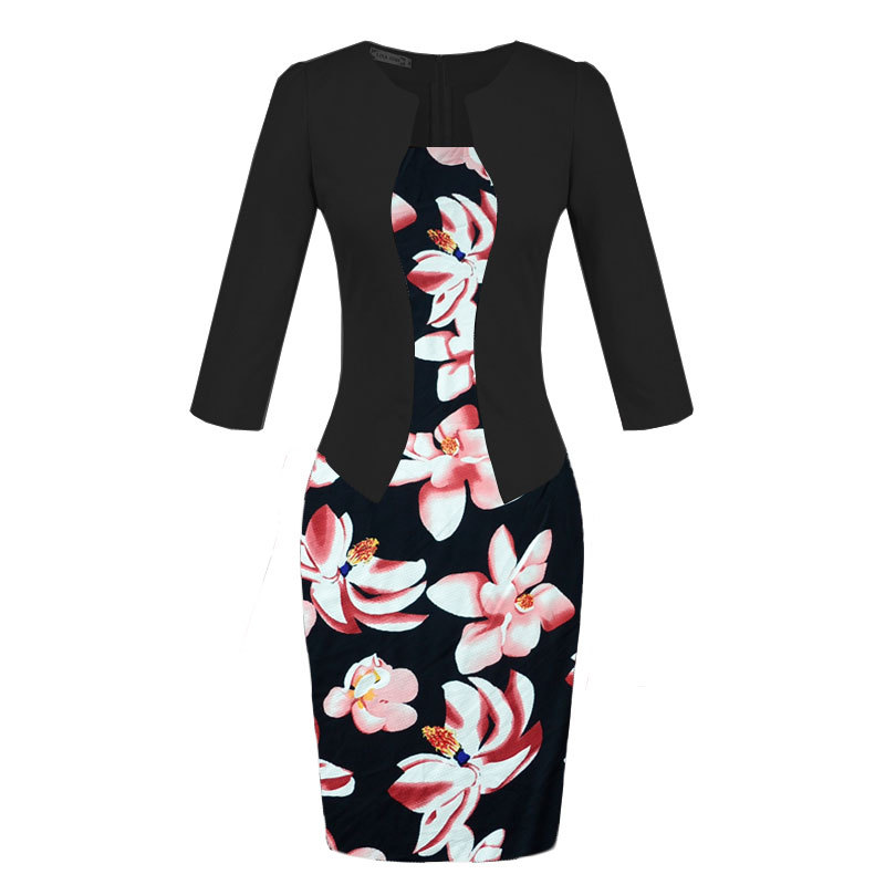 Women Fall One Piece Patchwork Floral Print Elegant Business Dress Party Formal Office Plus Size Bodycon Pencil Work Dresses 3XL in Dresses from Women 39 s Clothing